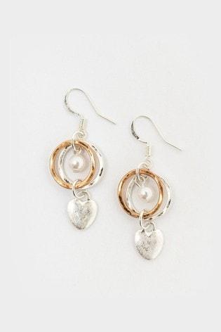White Stuff Layered Hoop & Heart Earrings