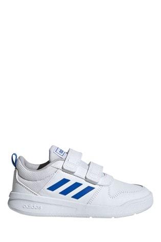 adidas White/Blue Tensaur Junior & Youth Velcro Trainers