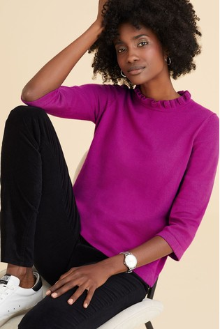 Pure Collection Pink Ruffle Neck Sweater