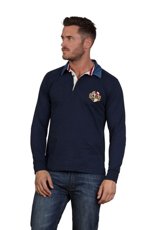 Raging Bull Navy Signature Heritage Rugby Sweater