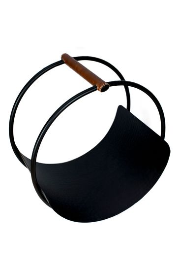 Leather Handle Round Log Holder by Ivyline