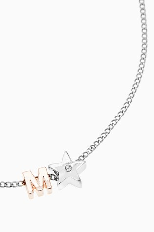 Silver/Rose Gold Tone Initial Star Necklace