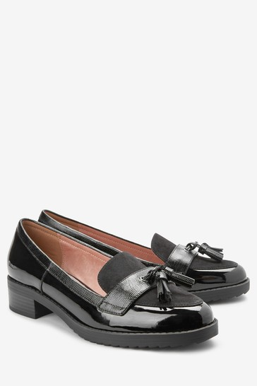 Black Material Mix Regular/Wide Fit Cleated Tassel Loafers