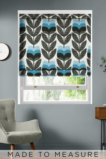Rose Bud Powder Blue Made To Measure Roman Blind by Orla Kiely