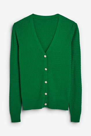 Green Jewel Button Cardigan