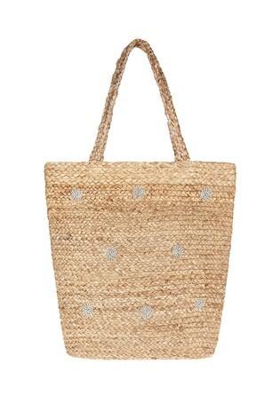Accessorize Natural Diamanté Polka Dot Shoulder Bag