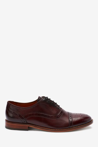 Burgundy Leather Toe Cap Oxford Shoes