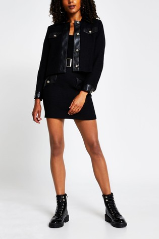 River Island Black Boucle Mix Mini Skirt