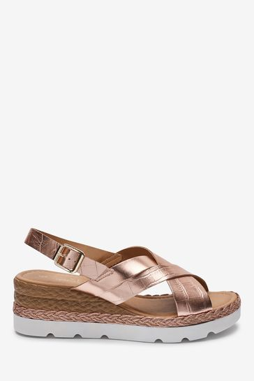 Rose Gold Sports Cross-Over Wedges