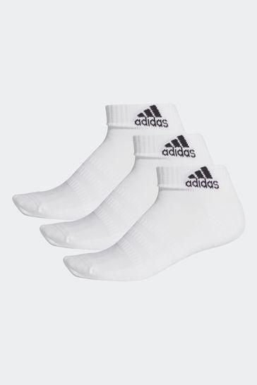 adidas Adult White Ankle Socks Three Pack