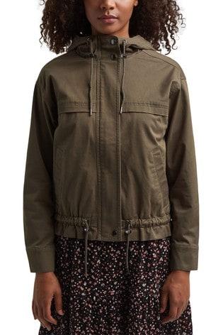 Esprit Green Outdoor Woven Jacket With Hood
