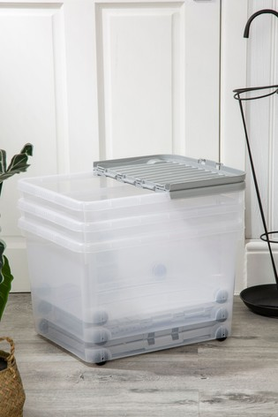 Set of 3 Wham 44Ltr Plastic Storage Boxes With Wheels & Folding Lid