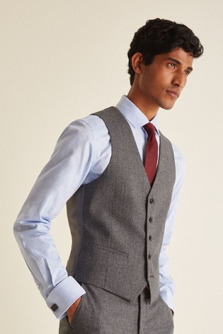 DKNY Grey Slim Fit Texture Waistcoat