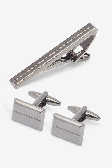 Gunmetal Cufflink And Tie Clip Set