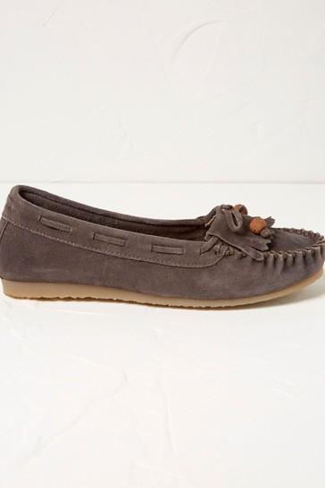 FatFace Grey Suede Fringe Moccasin Shoes