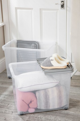 Set of 2 Wham 80Ltr Plastic Storage Boxes With Wheels & Folding Lid