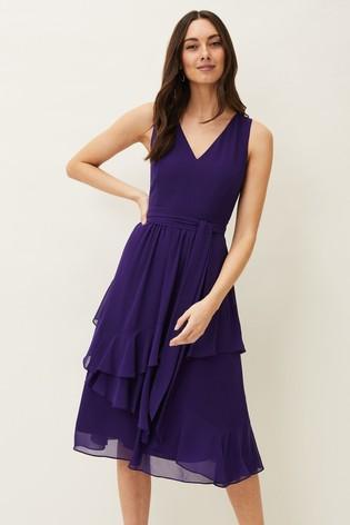 Phase Eight Purple Breesha Belted Dress