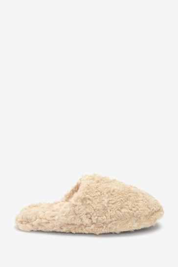 Oat Cream Recycled Faux Fur Slippers