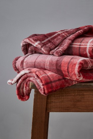 Catherine Lansfield Red Brushed Tartan Check Throw