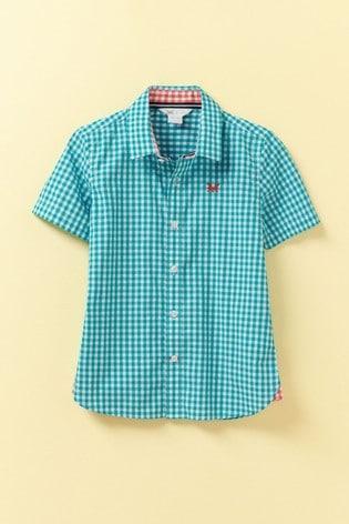 Crew Clothing Blue Gingham Short Sleeve Shirt