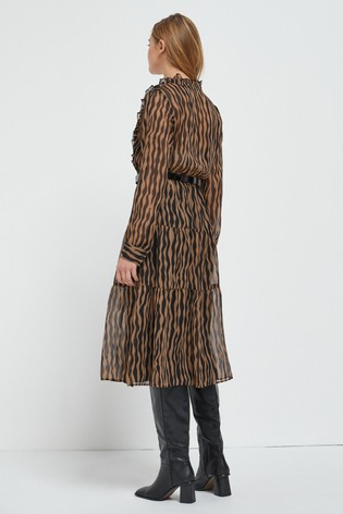 Zebra Animal Midi Tiered Shirt Dress
