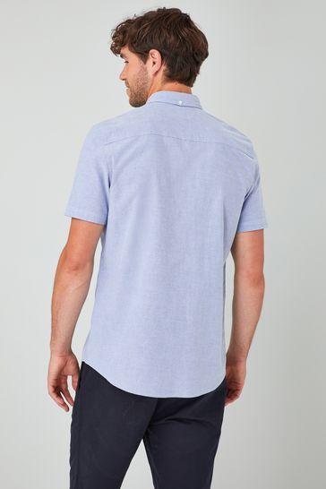 Light Blue Regular Fit Short Sleeve Oxford Shirt