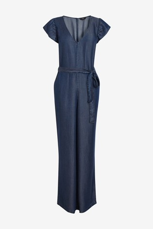 Dark Blue TENCEL™ Frill Detail Jumpsuit