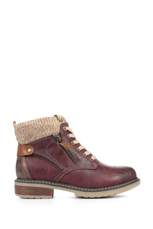 Pavers Burgundy Ladies Lace-Up Ankle Boots