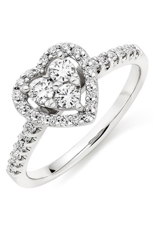 Beaverbrooks 9ct White Gold Diamond Heart Ring