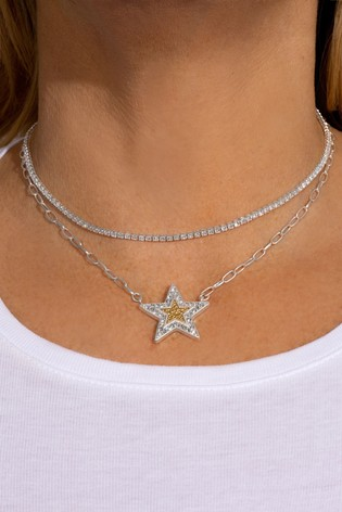 Kate Thornton 'Shining Star' Layered Silver/Gold Necklace