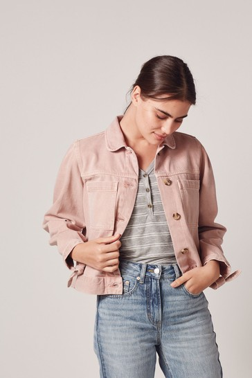 Pale Pink Puff Sleeve Denim Jacket
