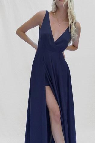 French Connection Blue Graci Drape Maxi Dress