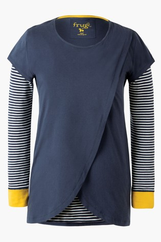 Frugi GOTS Organic Space Blue Maternity To Breastfeeding Top
