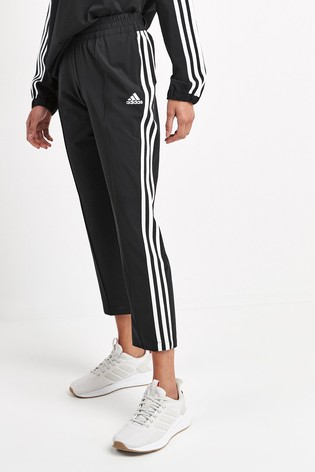 adidas Black 3 Stripe Cropped Joggers