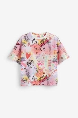 PinkWhite Graffiti 2 Pack Longline Shorts With Over Sized T Shirt Pyjamas (3 16yrs)