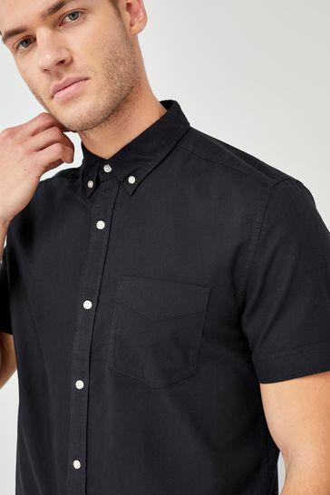 Black Regular Fit Short Sleeve Oxford Shirt