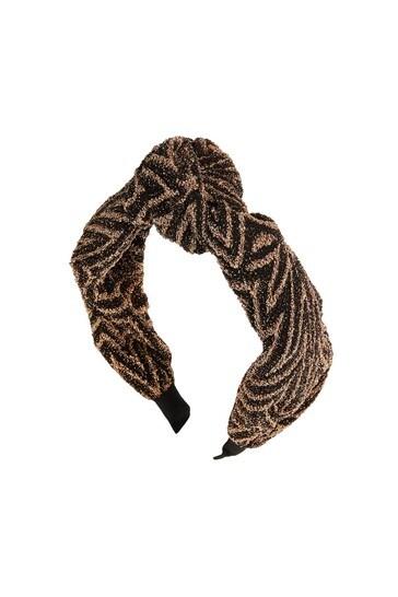 Oliver Bonas Black Zig Zag Shimmer Stripe Knotted Headband