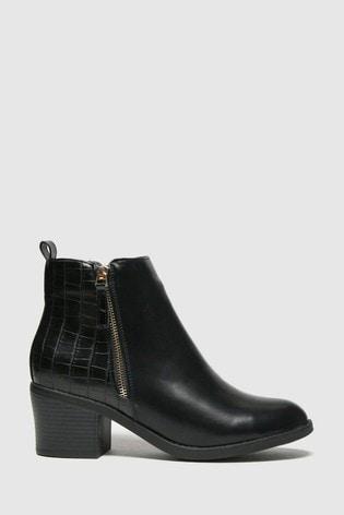 Schuh Black Amy Croc Ankle Boots