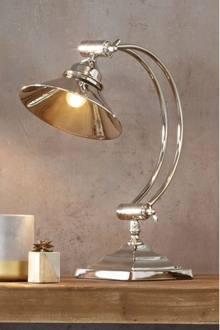 Kensington Nickel Metal Arched Arm Task Table Lamp by Pacific