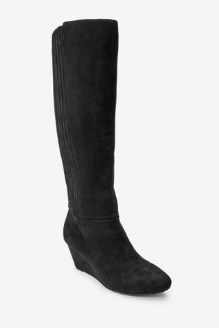Black Extra Wide Fit Forever Comfort® Wedge Knee High Boots