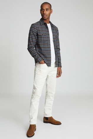 Reiss Blue Ash Checked Twin Pocket Overshirt