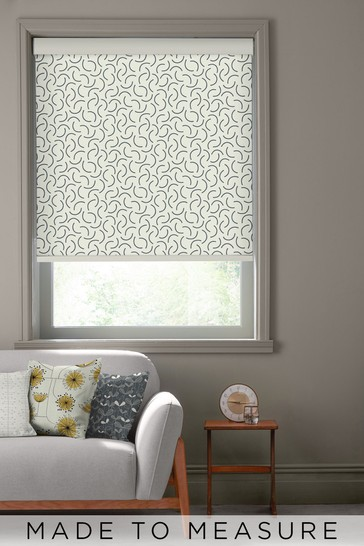 Tarn Chinagraph Black Made To Measure Roller Blind by MissPrint