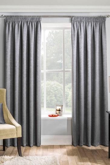 Enhanced Living Grey Matrix Thermal Blackout Pencil Pleat Curtains