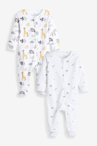 Delicate Safari 2 Pack Zip Sleepsuits (0-2yrs)