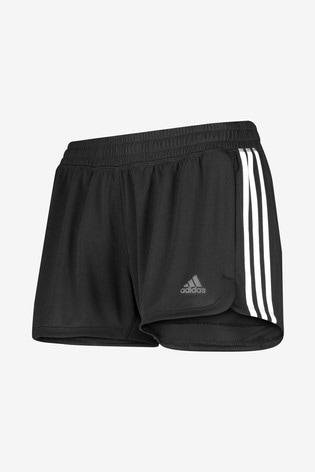 adidas Black Pacer 3 Stripe Shorts