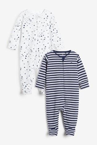 Navy Star & Stripe 2 Pack Zip Sleepsuits (0-3yrs)