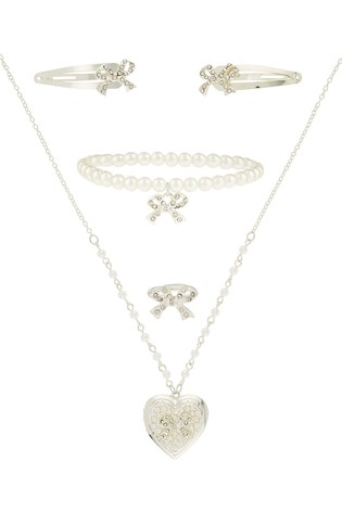 Monsoon Diamanté Bow Locket, Belt & Ring Set