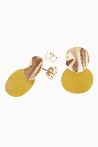 Ochre/Gold Tone Matte Stud Earrings