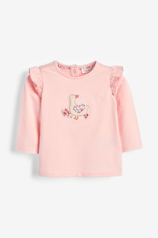 Ecru/Pink 3 Pack Duck And Floral T-Shirts (0mths-3yrs)