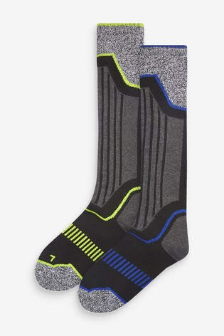 Grey/Black Two Pack Thermal Ski Socks